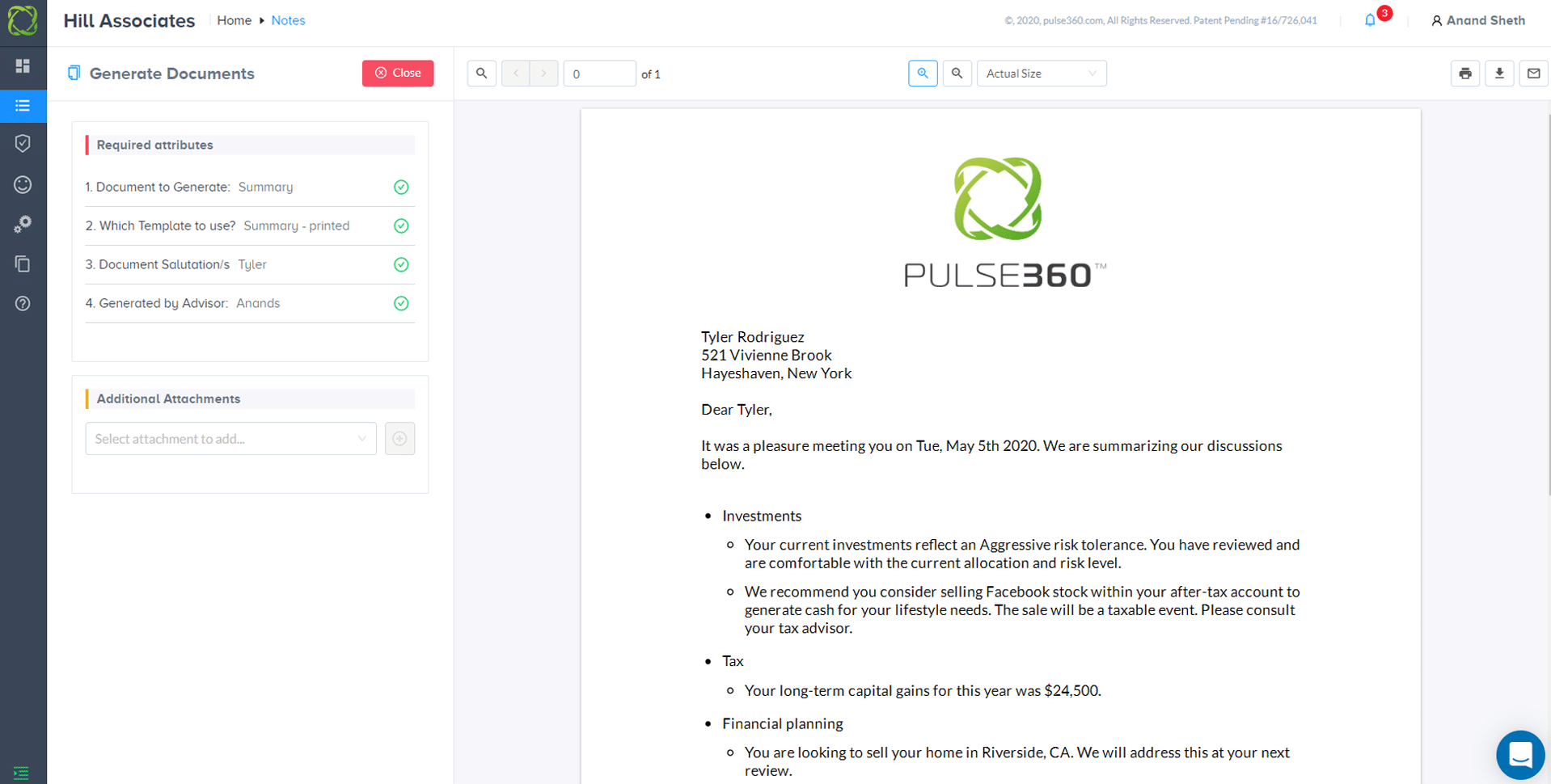 Screenshot of Pulse360 software showing completed summary letter